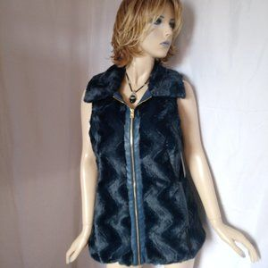 Nwt $99 ANDREW MARC Full Zip Faux Fur Vest Coat M